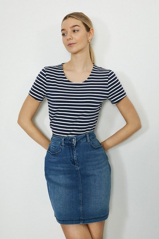 Navy Fitted Stripe Crew Neck Organic Cotton Tee