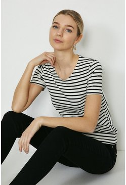 White Fitted Stripe Crew Neck Organic Cotton Tee