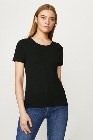 Black Organic Cotton Crew Fitted Tee