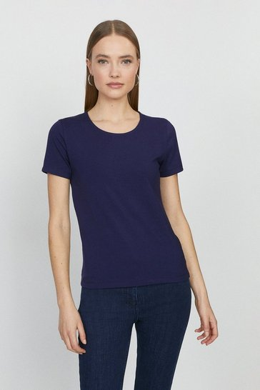 Navy Organic Cotton Crew Fitted Tee
