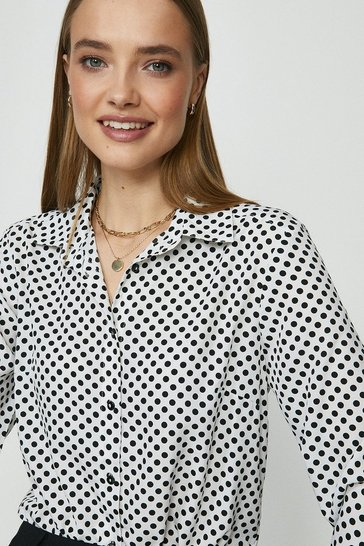 White Brave Soul Polka Dot Button Up Shirt