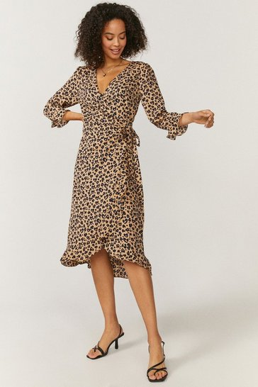 Leopard Brave Soul Animal Print Wrap Midi Dress