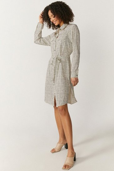 Brave Soul Mono Print Mini Shirt Dress