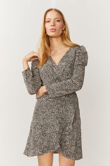 Mono Brave Soul Mini Spot Print Puff Sleeve Wrap Dress