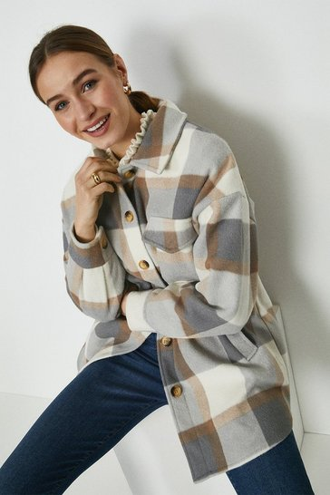 Camel Check Longline Shirt Jacket