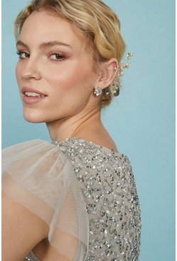 Silver Diamante And Gem Cluster Stud Earrings