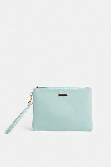 Pale blue Wrist Strap Clutch Bag