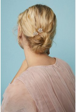 Gold Diamante Flower Hair Grip Set