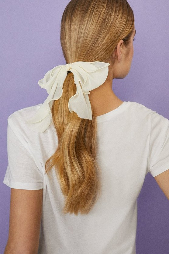 Ivory Satin Hair Bobble With Bow