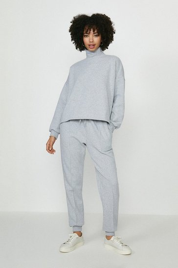 Grey marl High Neck Pleated Jogger Lounge Set