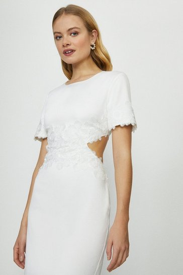 Ivory Cut Out Lace Detail Bridal Midi Dress