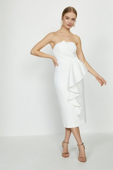 Ivory Ruffle Front Bandeau Bridal Dress