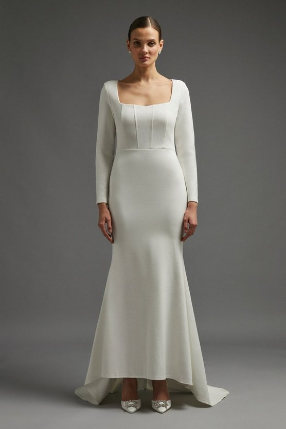 Ivory Long Sleeve Bridal Maxi Dress With Trail