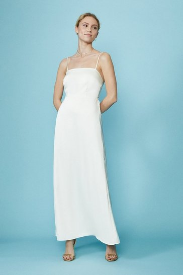 Ivory Satin Cami Bridal Dress With Bow Back Detail