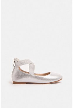 Silver Girls Metallic Cross Over Strap Ballet Shoe