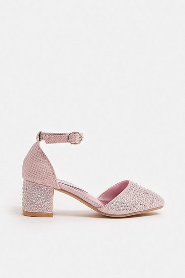 Blush Girls Diamante Shoes