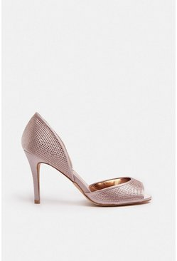 Rose gold Diamante Peep Toe Court Shoe