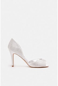 White Diamante Peep Toe Court Shoe