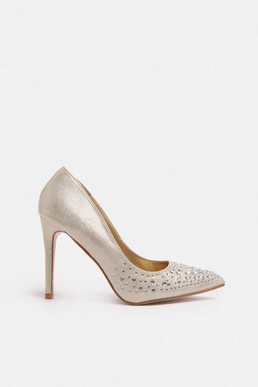 Gold Diamante Embellished Metallic Court Shoe