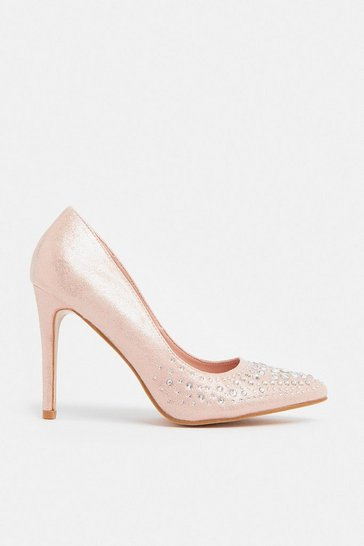 Pink Diamante Embellished Metallic Court Shoe