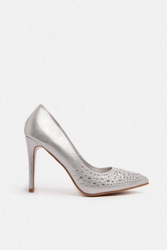 Silver Diamante Embellished Metallic Court Shoe
