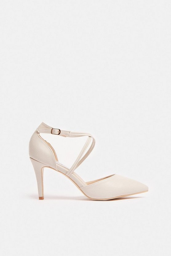 Nude Cross Front Strap Court Shoe