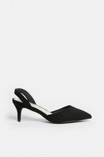 Black Sling Back Pointed Court Shoe