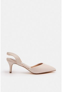 Nude Sling Back Pointed Court Shoe