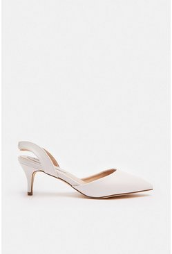 White Sling Back Pointed Court Shoe