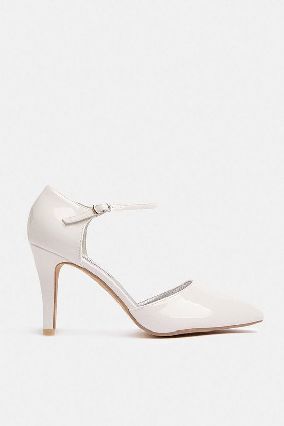 White Pointed Ankle Strap Court Shoe