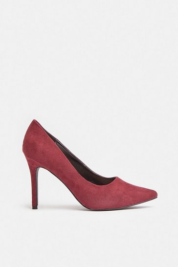 Wine Pointed Court Shoe