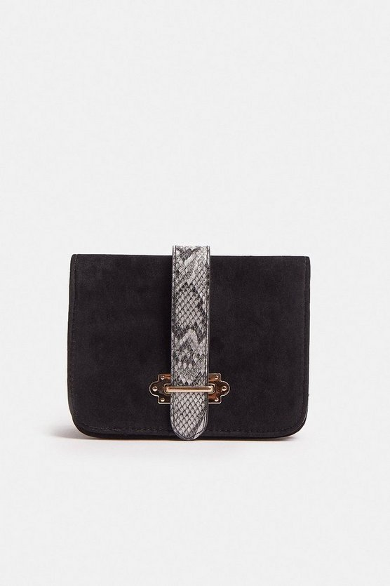 Black Snake Print Stripe Chain Strap Bag
