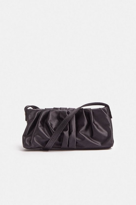 Black Ruched Structured Shoulder Bag