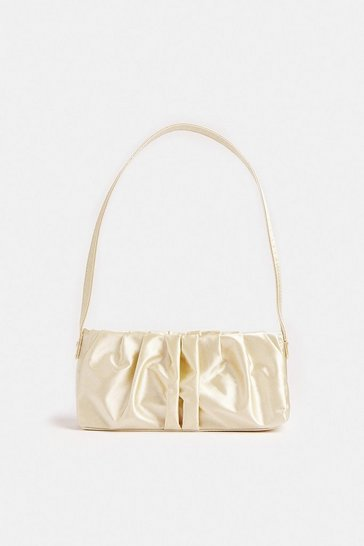 Cream Ruched Structured Shoulder Bag