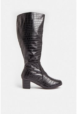 Black Croc Knee High Block Heel Boots