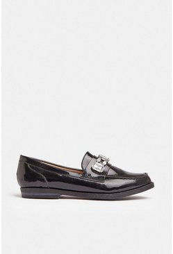 Black Diamante Detail Patent Loafer
