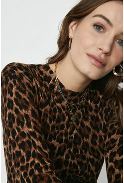 Brown Animal Print Crew Jumper