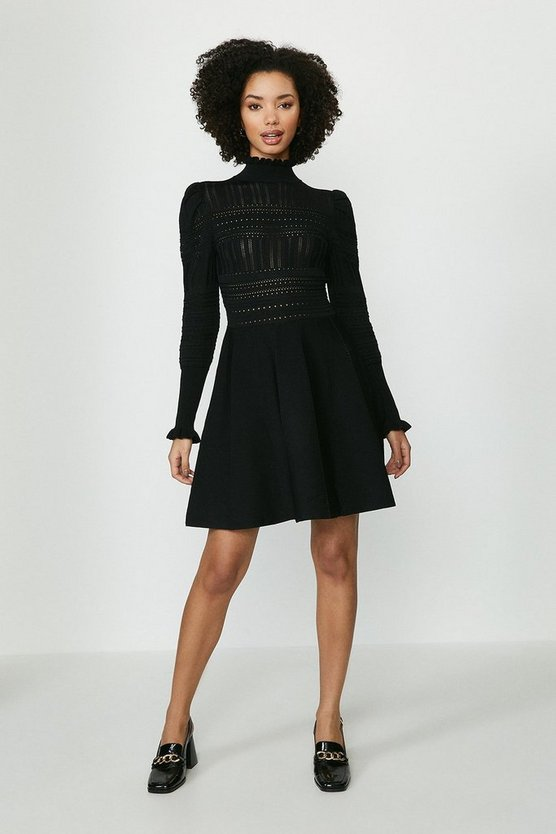 Black Pointelle Knitted Dress