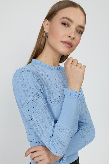 Blue Pointelle Knitted Jumper