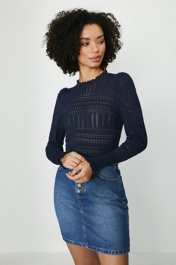 Navy Pointelle Knitted Jumper