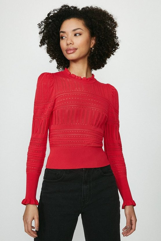 Red Pointelle Knitted Jumper