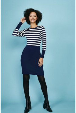 Navy Stripe Knitted Dress With Pencil Skirt