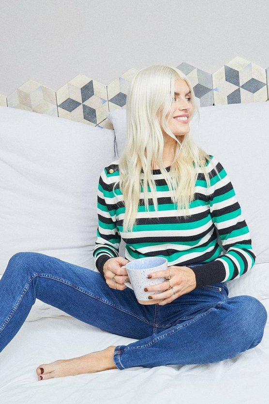 Black Stripe Crew Neck Jumper