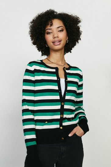 Black Stripe Crew Neck Cardi