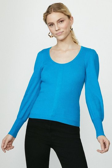 Aqua Crew Neck Knitted Jumper