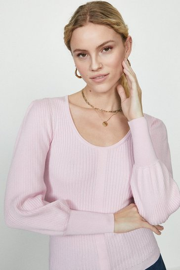 Pink Crew Neck Knitted Jumper