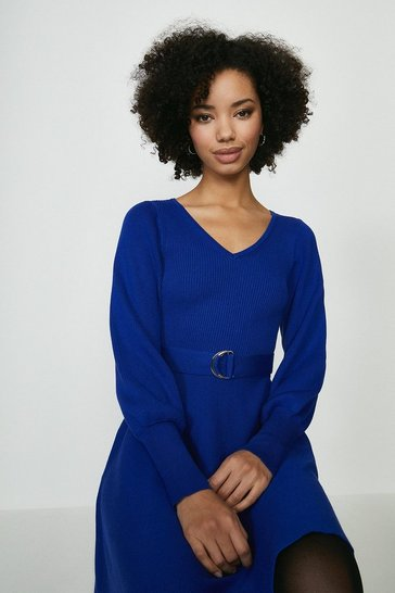 Cobalt V Neck Knitted Dress