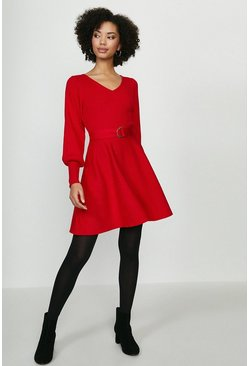 Red V Neck Knitted Dress