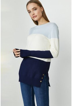 Navy Crew Neck Stripe Tunic