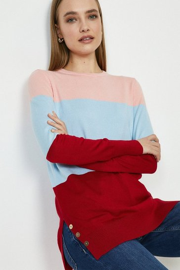 Red Crew Neck Stripe Tunic
